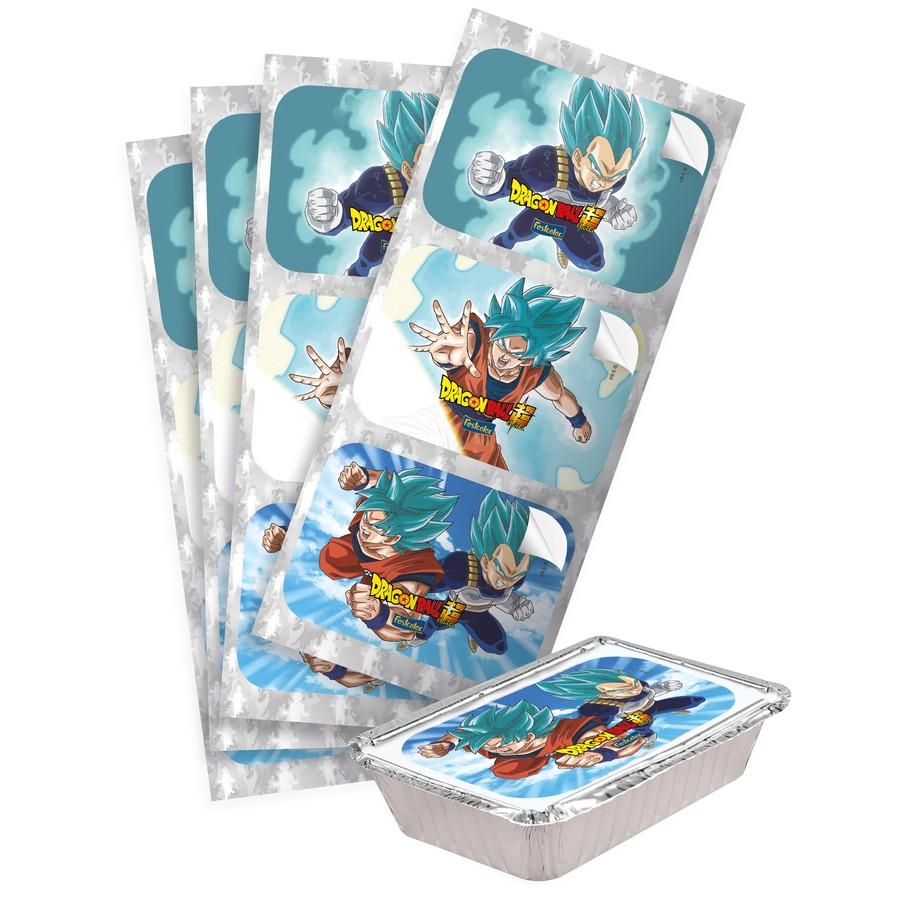Adesivo Retangular Lembrancinha Dragon Ball Super - 12 Unidades - Festcolor