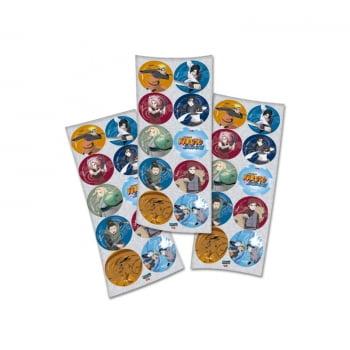 Adesivo Redondo Lembrancinha Naruto - 30 Unidades - Festcolor