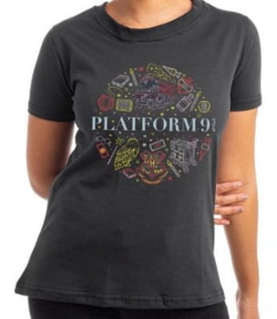 Camiseta Baby Look Harry Potter Plataforma 9 3/4 Algodão