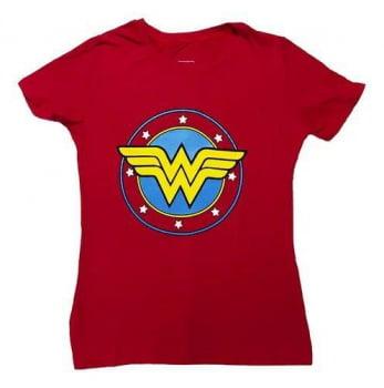 Camiseta Baby Look Mulher Maravilha Logo Algodão Wonder Woman